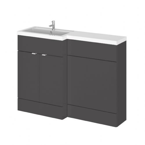 Elite Grey Gloss 1200mm Combination Furniture Pack - Left Hand